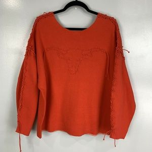 Wildfox Oversized Bull Stitched Open Pullover